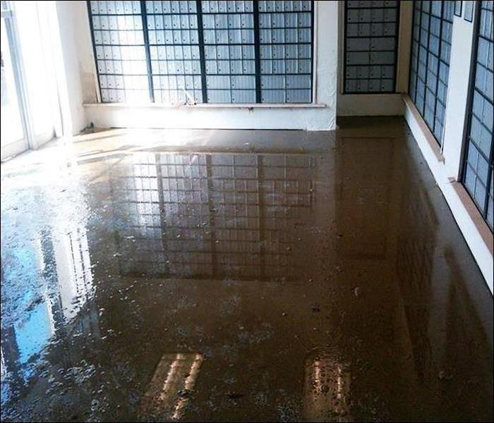 mailbox room with dirty flood on floor